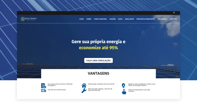 Site Institucional - Bom Tempo Solar
