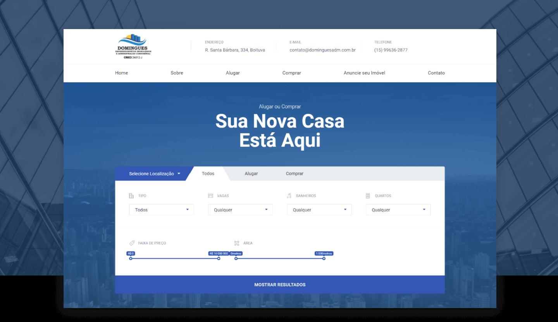 Site Institucional - Domingues Imobiliária