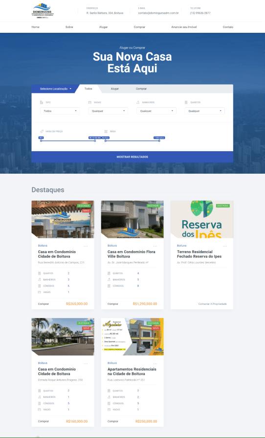 Site Institucional - Domingues Imobiliária - Home