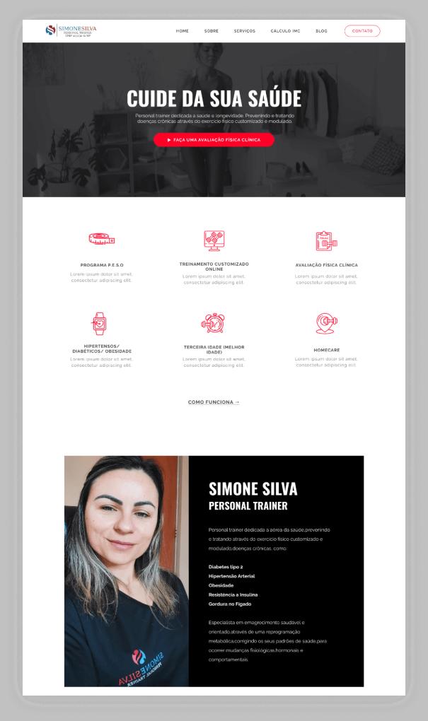 Site Institucional - Simone Personal - Home 1