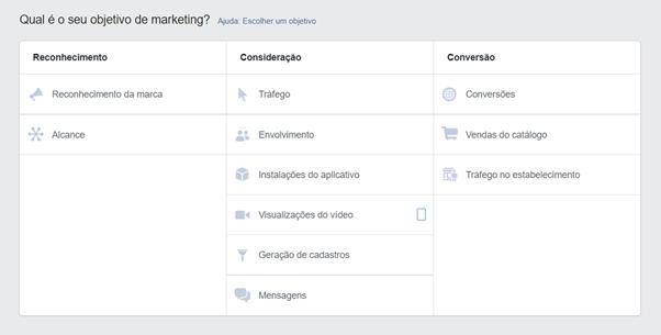 Impulsionar publicação no Facebook e Instagram: Objetivo