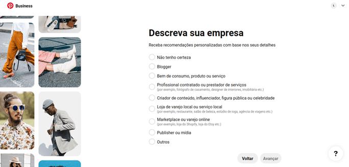 Pinterest Ads: Descreva sua empresa 2